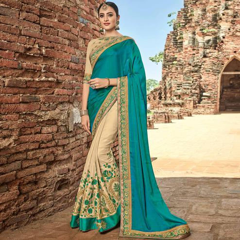 Flattering Teal Blue - Beige Colored Party Wear Embroidered Raw Silk Saree