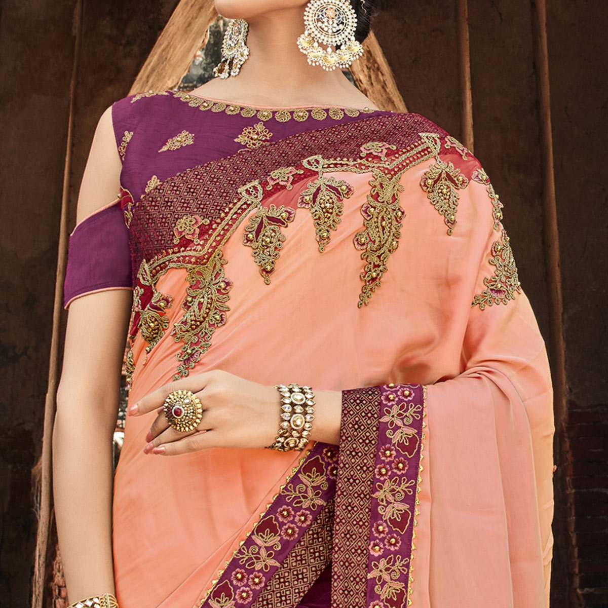 Breathtaking Peach - Wine Colored Party Wear Embroidered Raw Silk Saree