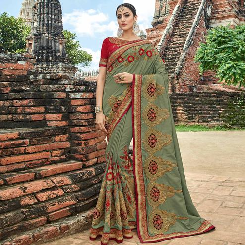 Impressive Olive Green Colored Party Wear Embroidered Silk Saree