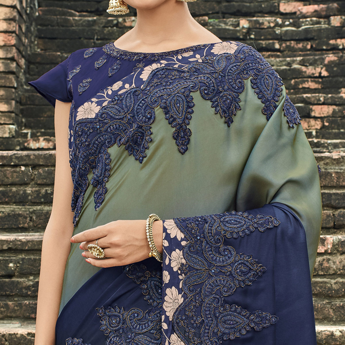 Innovative Olive Green - Navy Blue Colored Party Wear Embroidered Raw Silk Saree