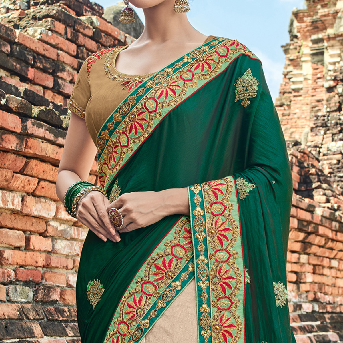 Arresting Green - Beige Colored Party Wear Embroidered Raw Silk Saree