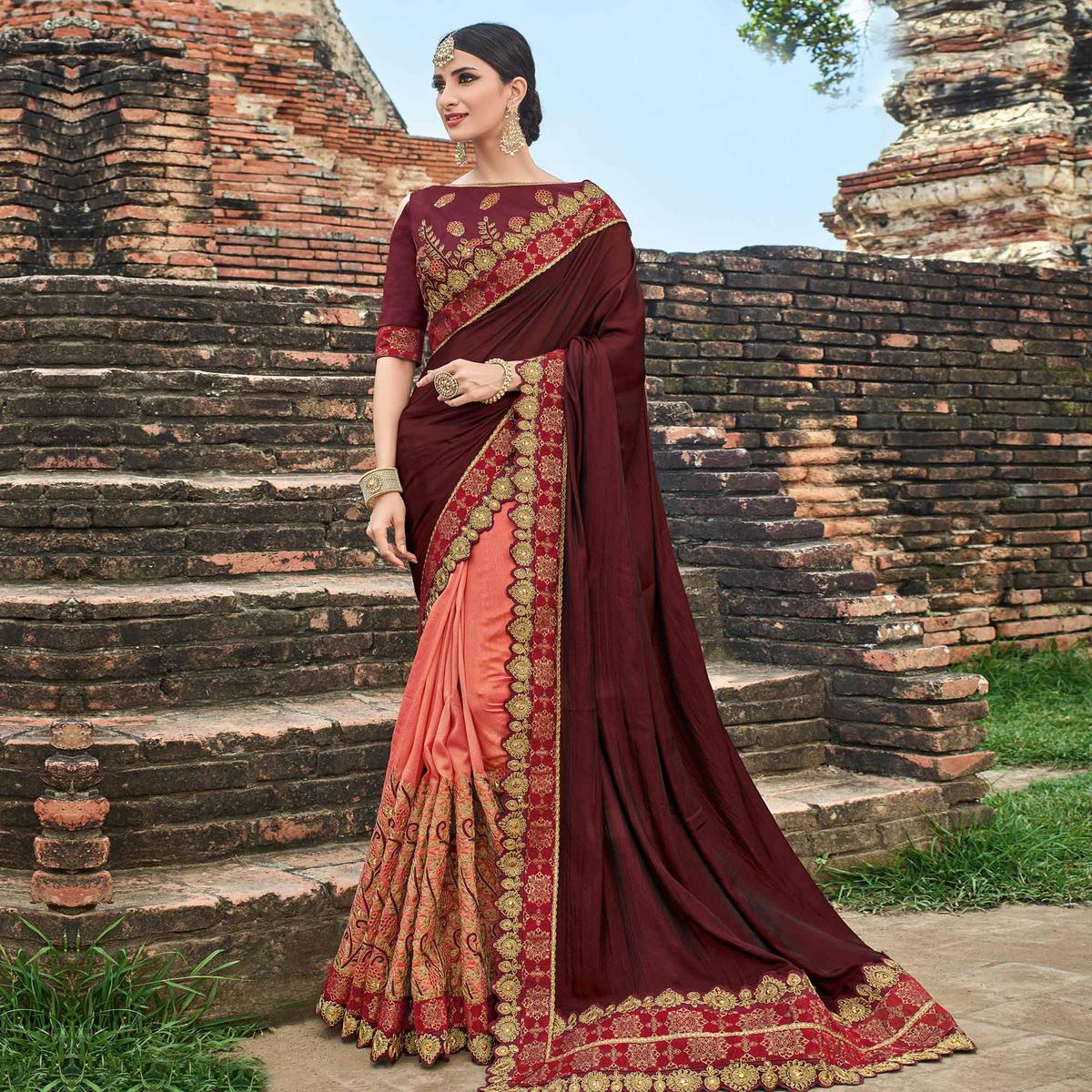 Exceptional Maroon - Peach Colored Party Wear Embroidered Raw Silk Saree