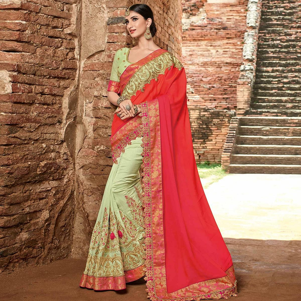 Ethnic Red - Pista Green Colored Party Wear Embroidered Raw Silk Saree