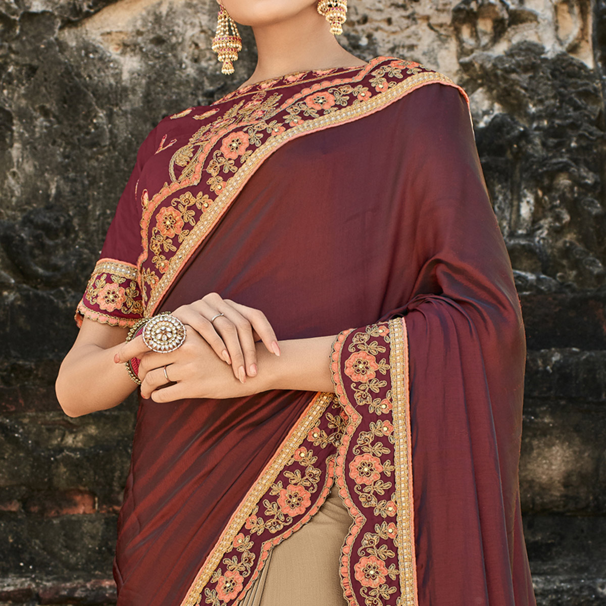 Flirty Maroon - Beige Colored Party Wear Embroidered Raw Silk Saree