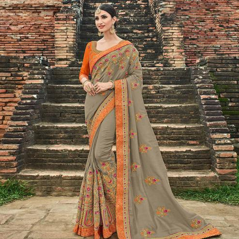 Glowing Grey Colored Party Wear Embroidered Silk Saree