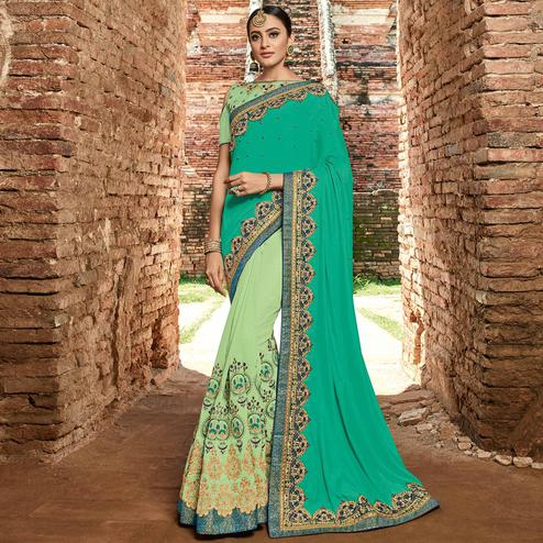 Hypnotic Green - Lime Green Colored Party Wear Embroidered Raw Silk Saree