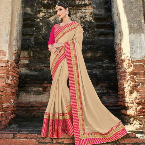 Trendy Beige Colored Party Wear Embroidered Raw Silk Saree