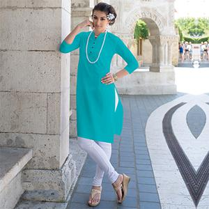 Light Blue Cotton Designer Kurti