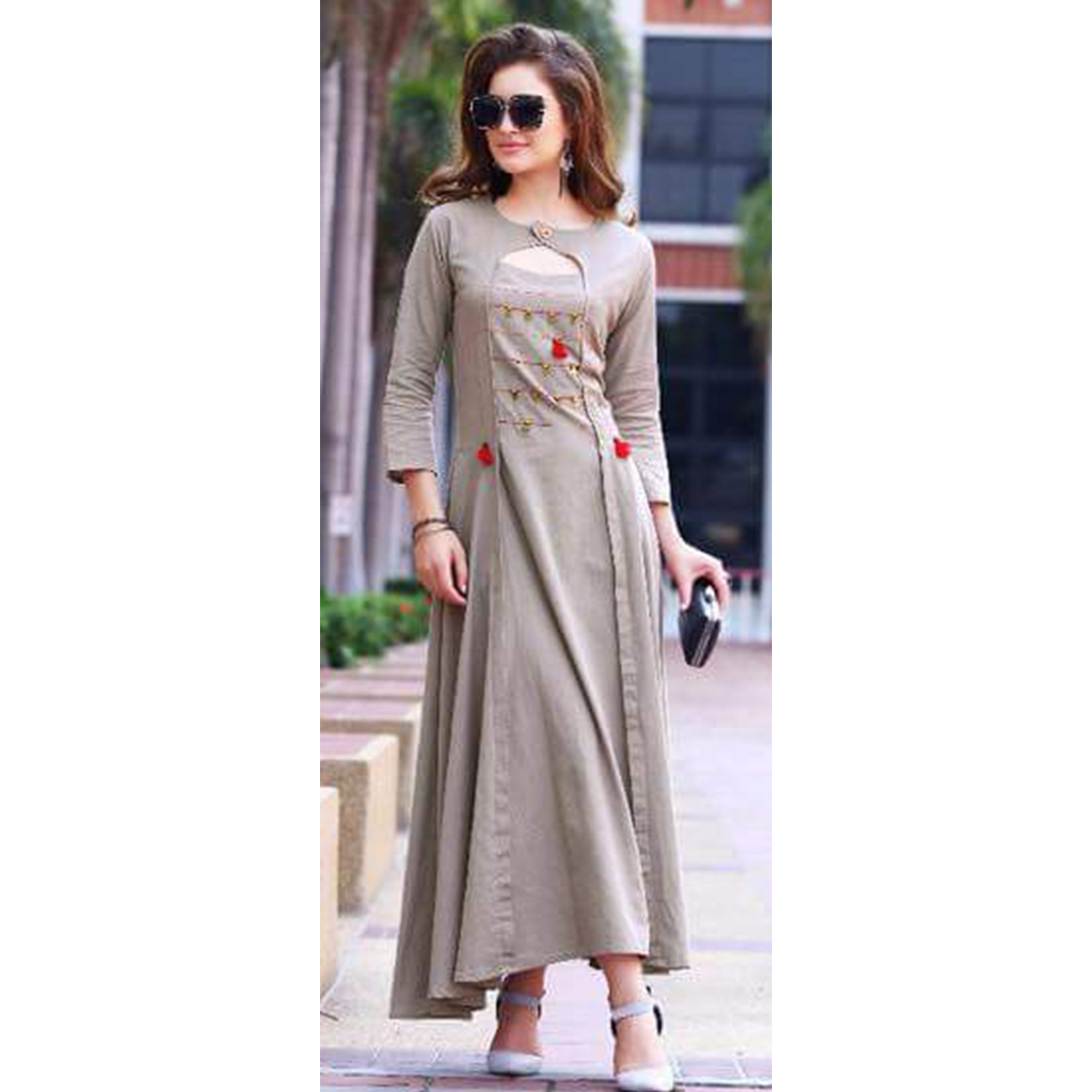 Trendy Gray Colored Partywear Rayon Long Kurti