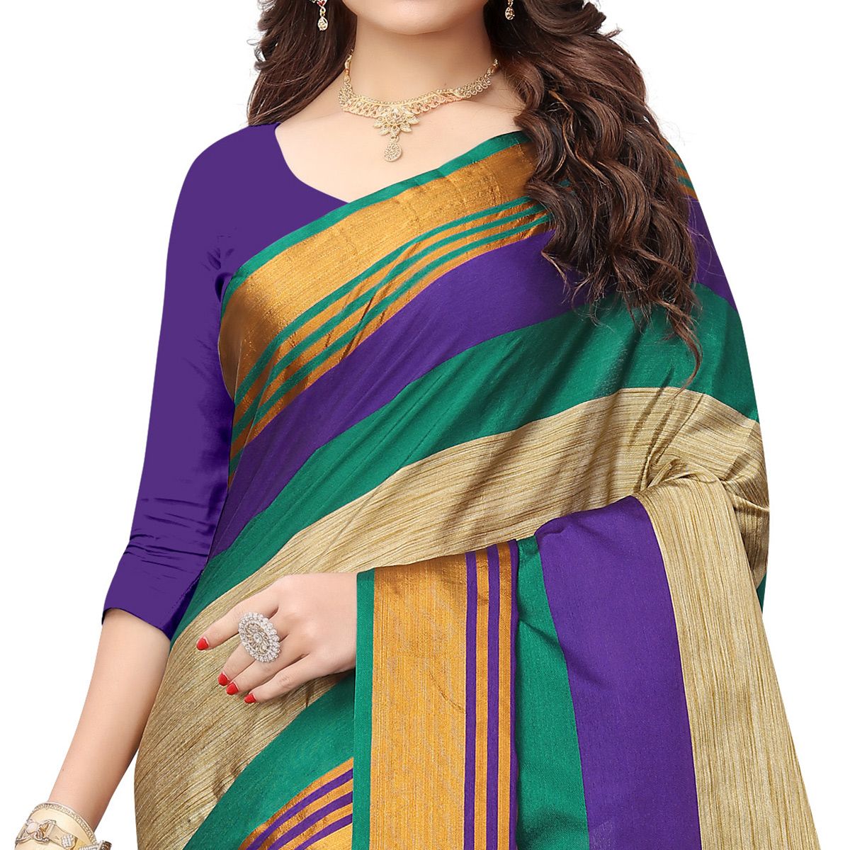 Refreshing Beige - Blue Colored Festive Wear Poly Cotton Saree