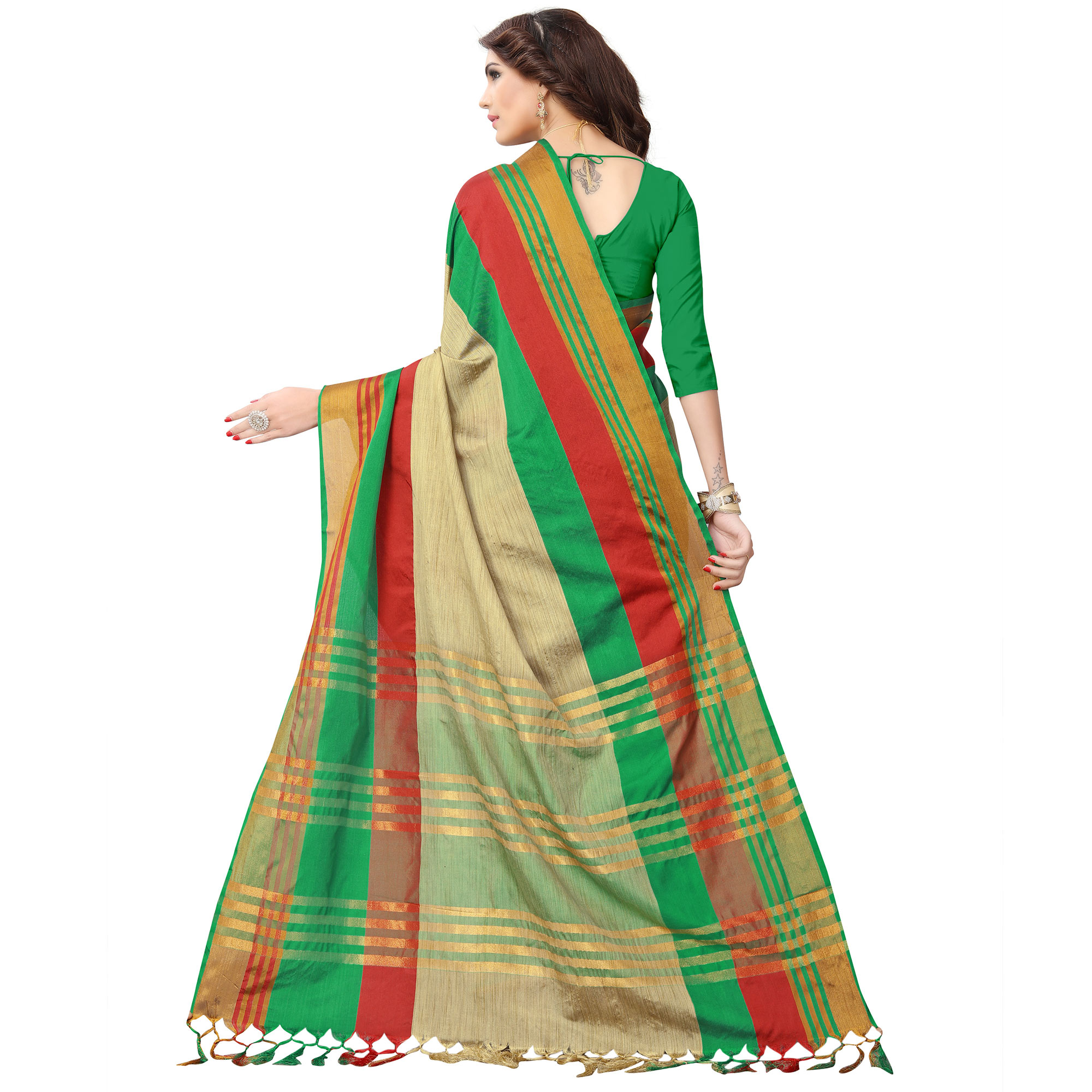 Elegant Beige - Green Colored Festive Wear Poly Cotton Saree