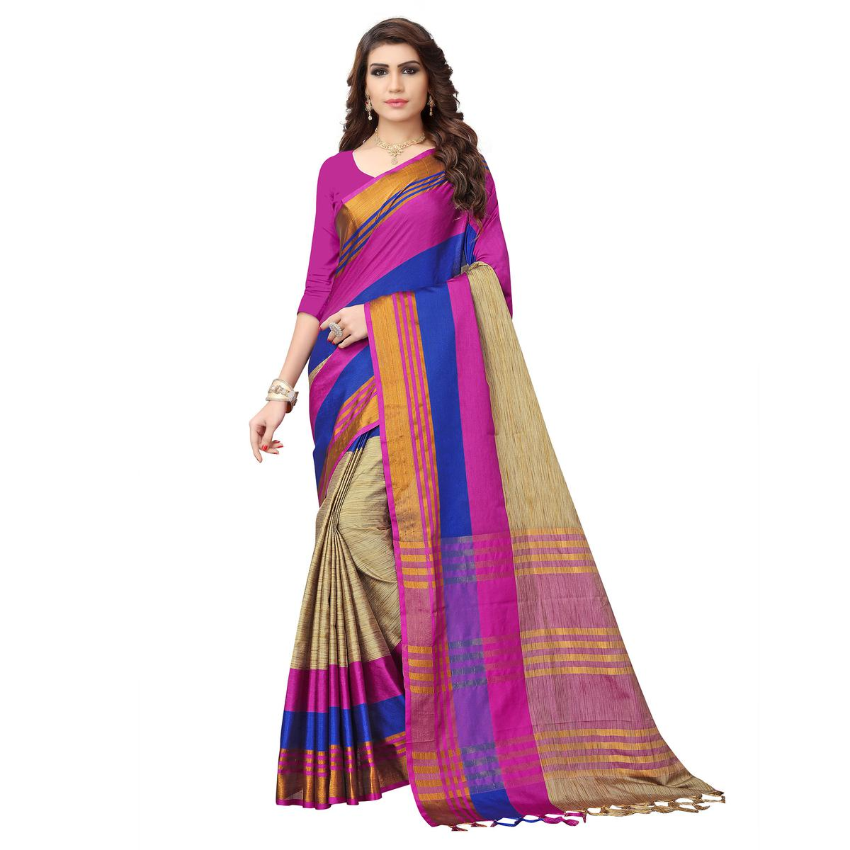 Alluring Beige - Pink Colored Festive Wear Poly Cotton Saree
