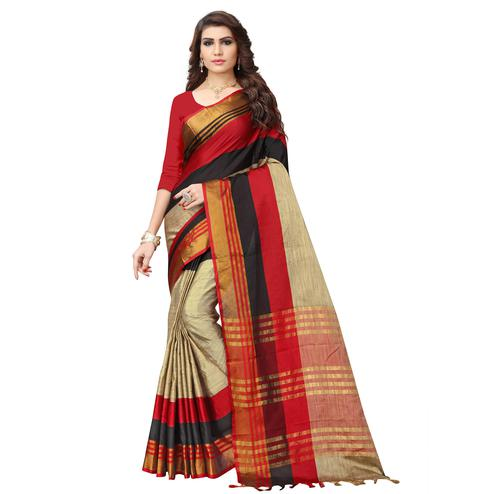 Radiant Beige - Red Colored Festive Wear Poly Cotton Saree