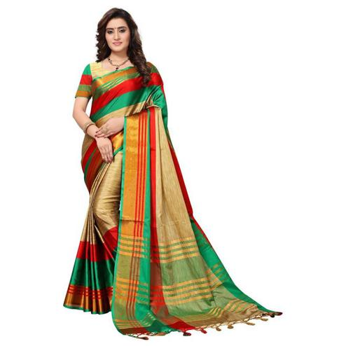 Sensational Beige - Green Colored Festive Wear Poly Cotton Saree