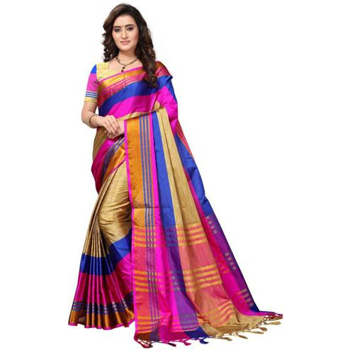 Opulent Beige - Pink Colored Festive Wear Poly Cotton Saree