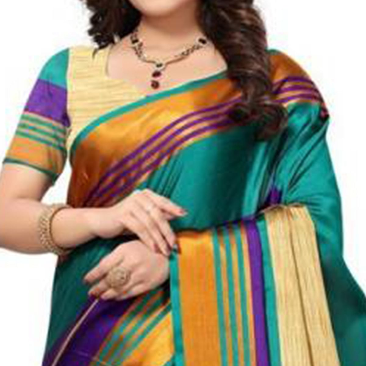 Dazzling Beige - Teal Green Colored Festive Wear Poly Cotton Saree