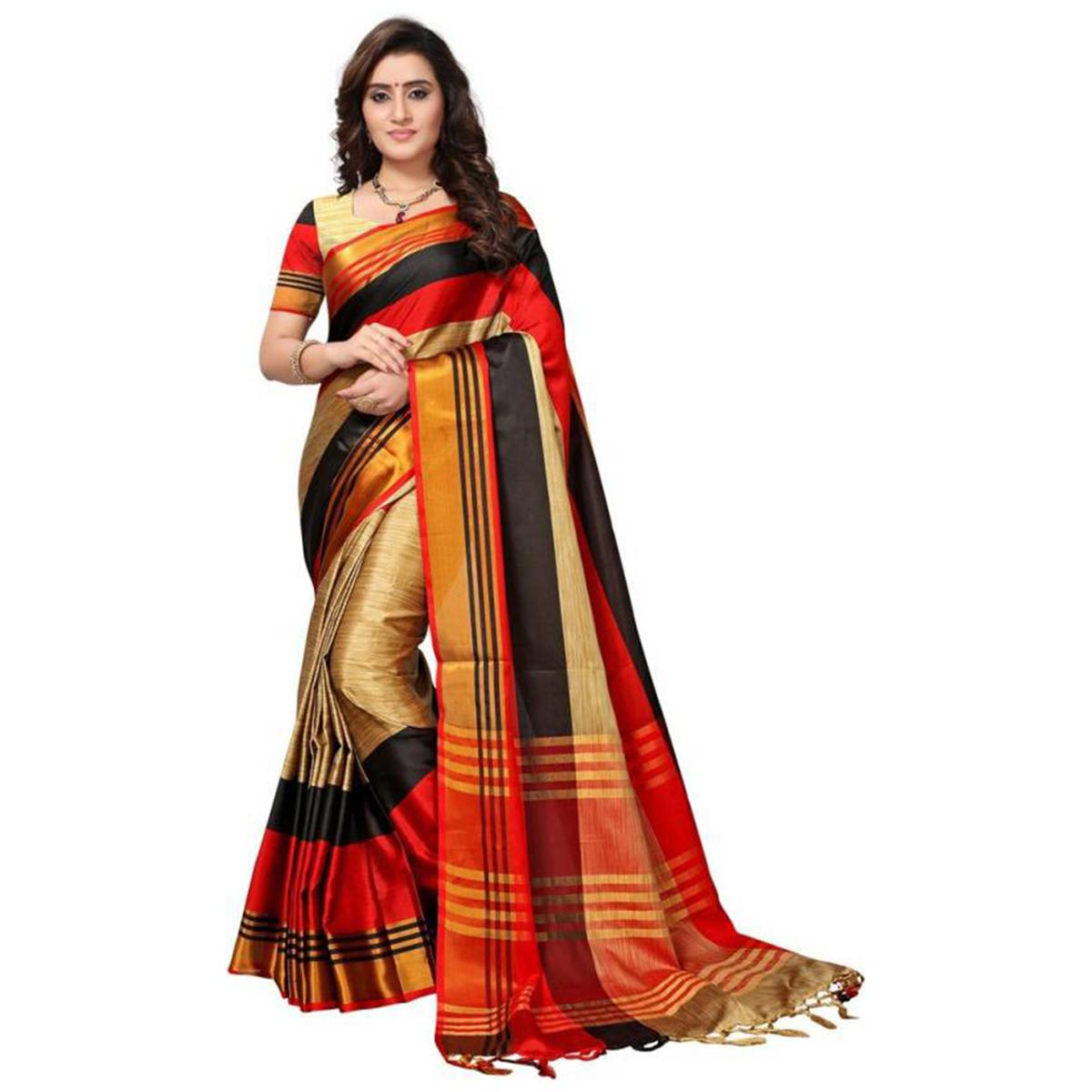 Flattering Beige - Red Colored Festive Wear Poly Cotton Saree