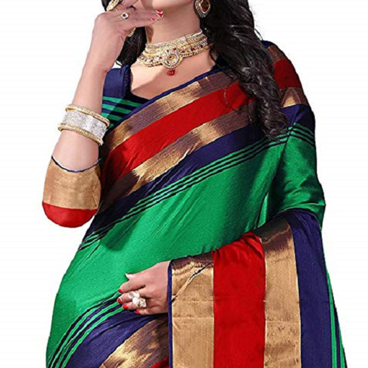 Breathtaking Green Colored Festive Wear Poly Cotton Saree