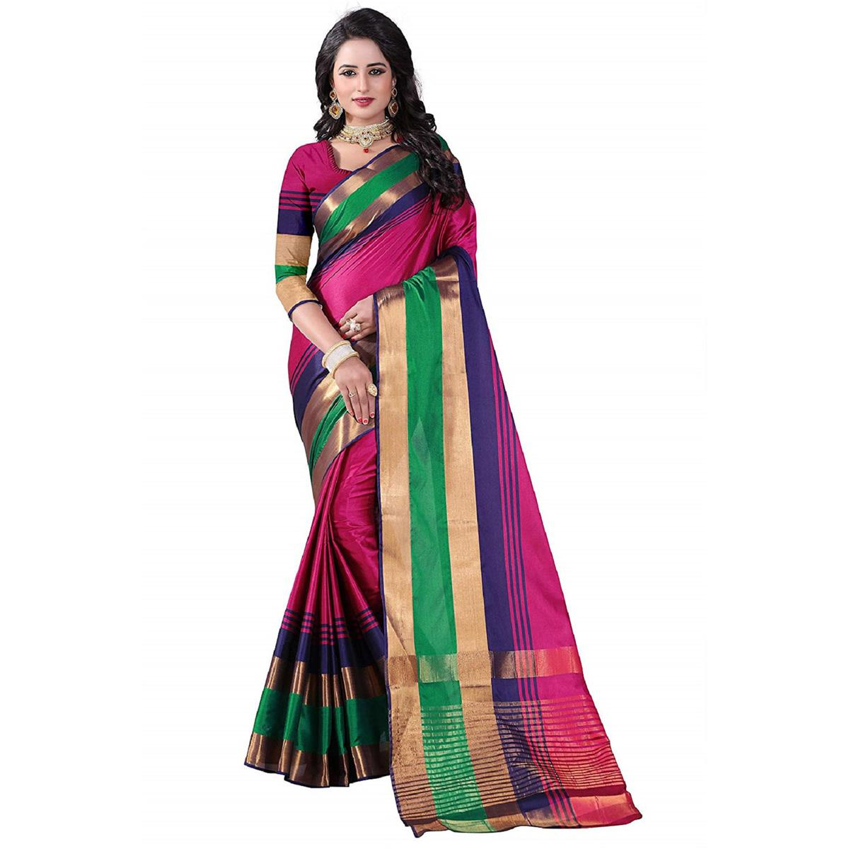 Impressive Pink Colored Festive Wear Poly Cotton Saree