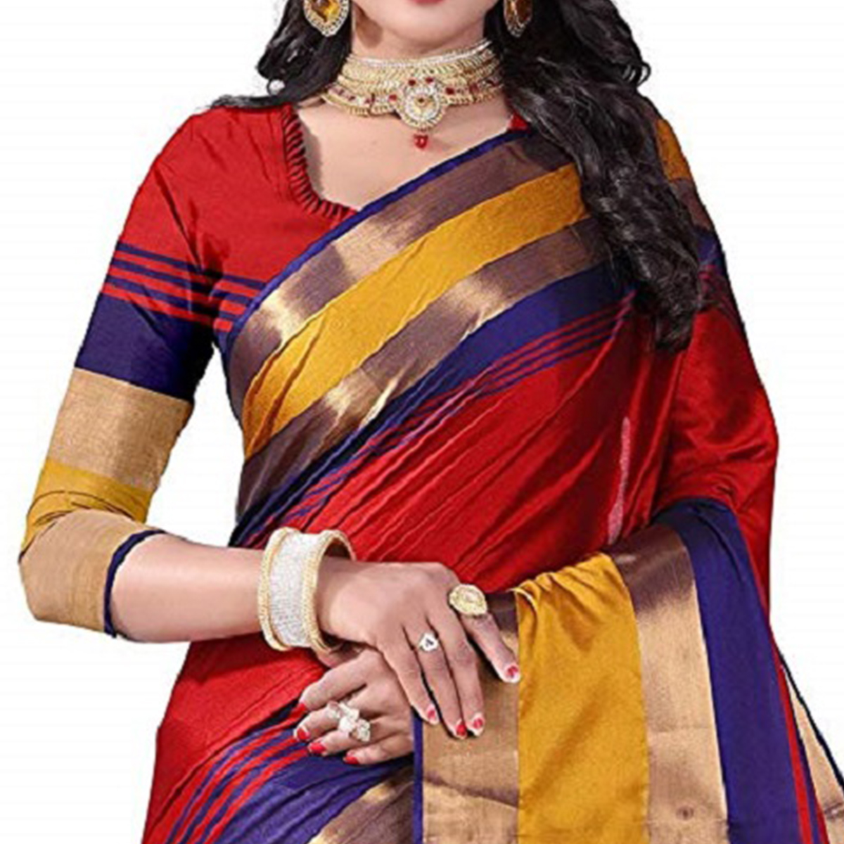 Innovative Red Colored Festive Wear Poly Cotton Saree