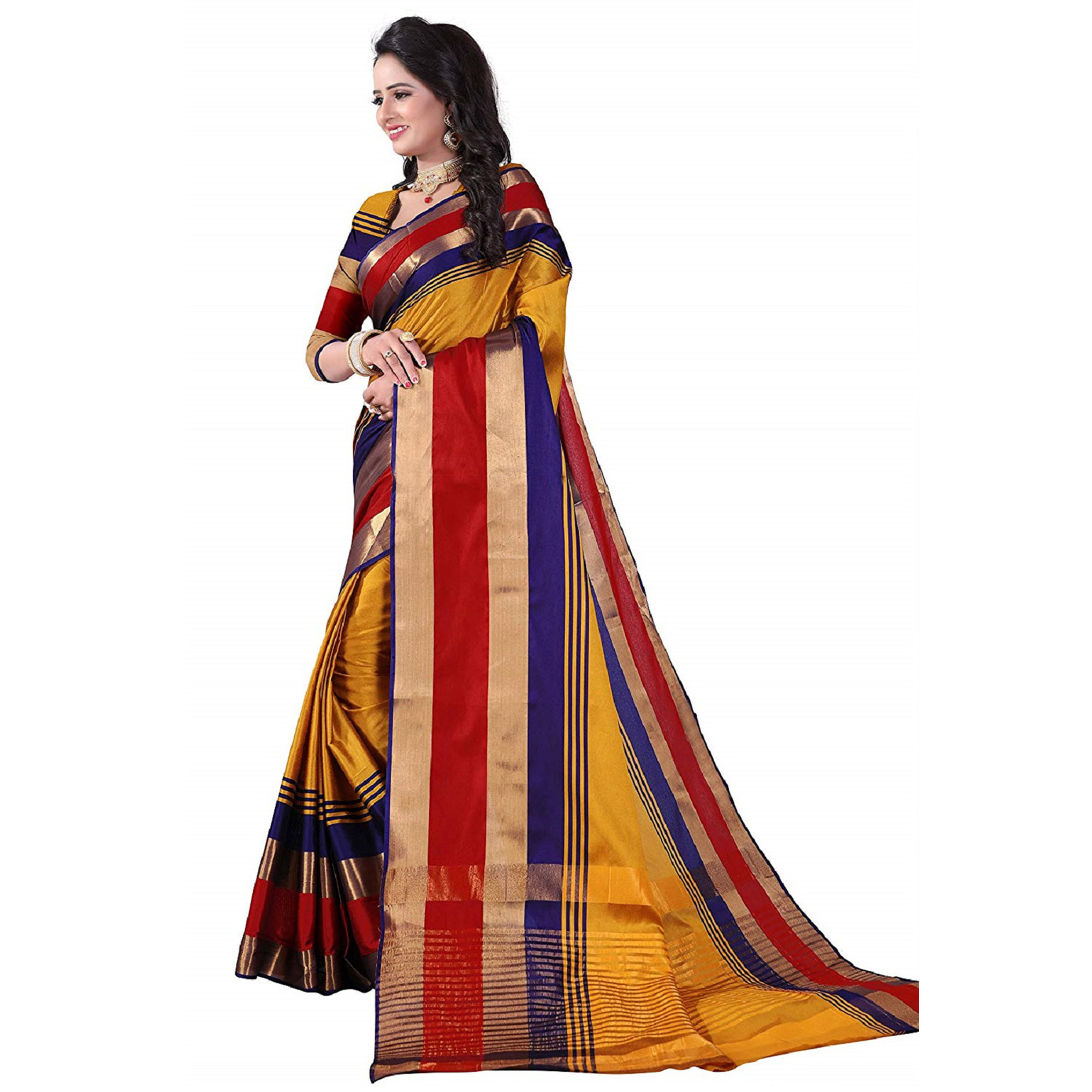 Gleaming Yellow Colored Festive Wear Poly Cotton Saree