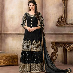 Sensational Black Colored Partywear Embroidered Uppada Silk Palazzo Suit