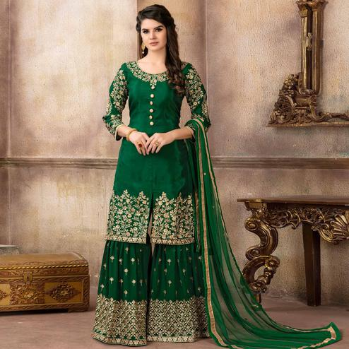 Breathtaking Green Colored Partywear Embroidered Uppada Silk Palazzo Suit