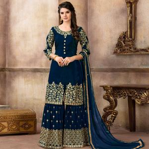 Exceptional Navy Blue Colored Partywear Embroidered Uppada Silk Palazzo Suit