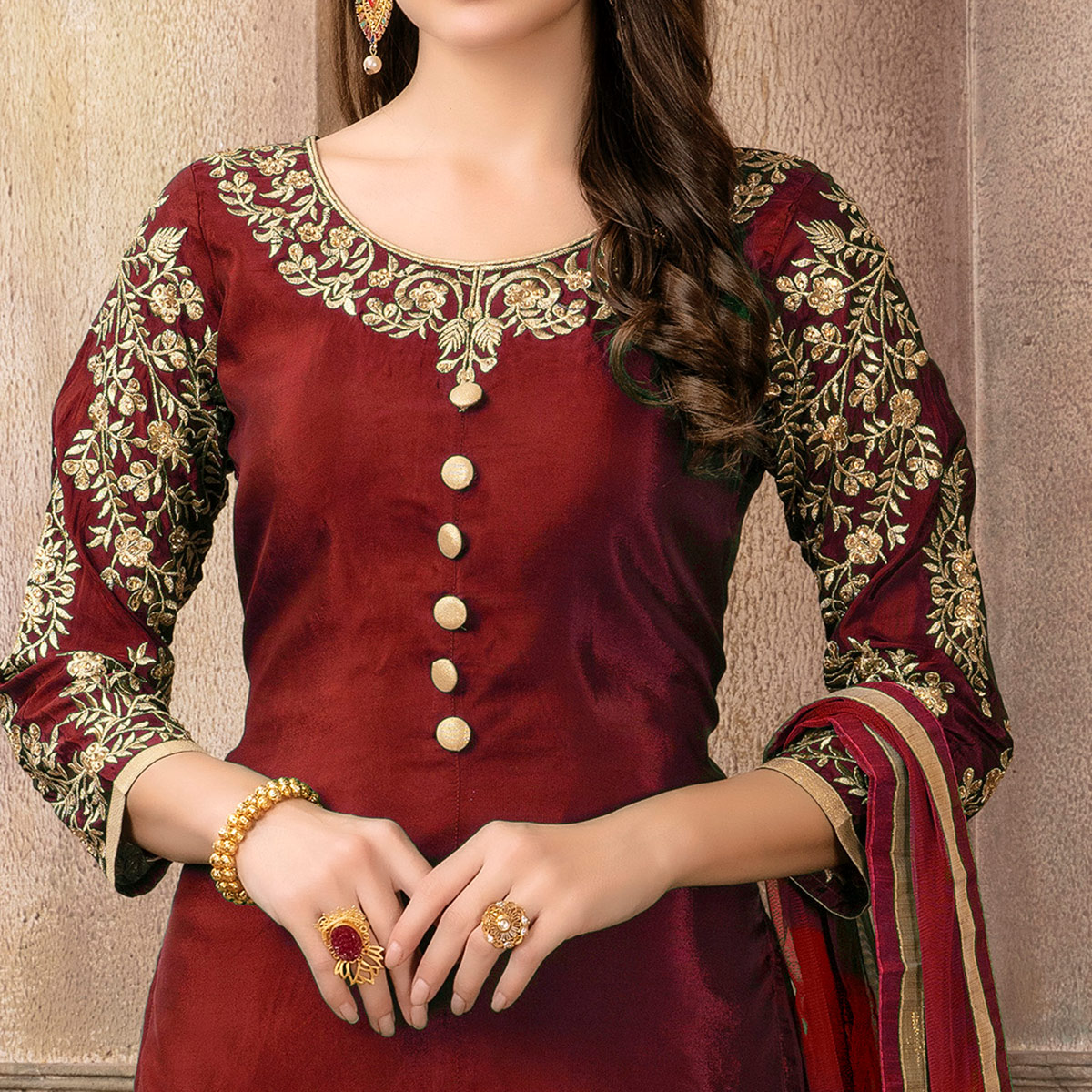 Majesty Red Colored Partywear Embroidered Uppada Silk Palazzo Suit