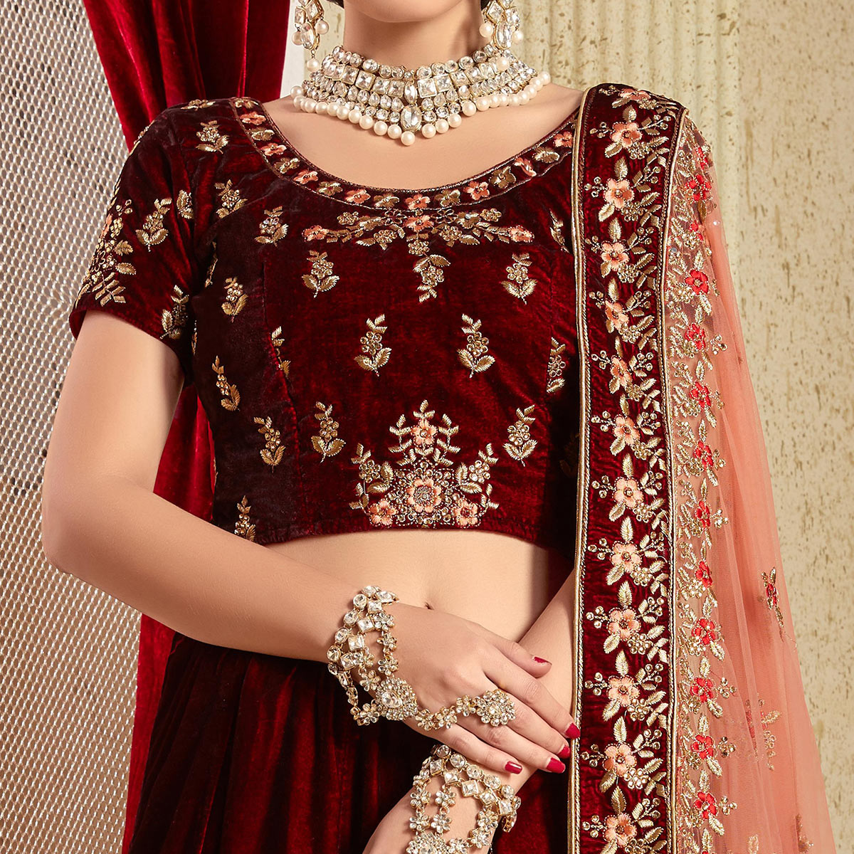 Jazzy Maroon Colored Partywear Embroidered Pure Velvet Lehenga Choli
