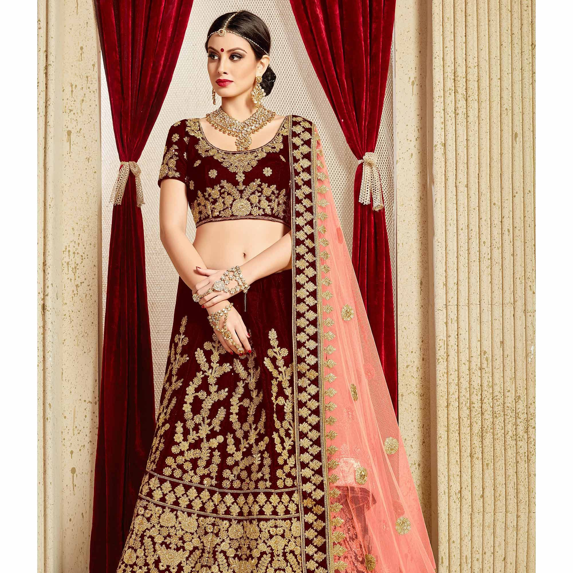 Groovy Maroon Colored Partywear Embroidered Pure Velvet Lehenga Choli