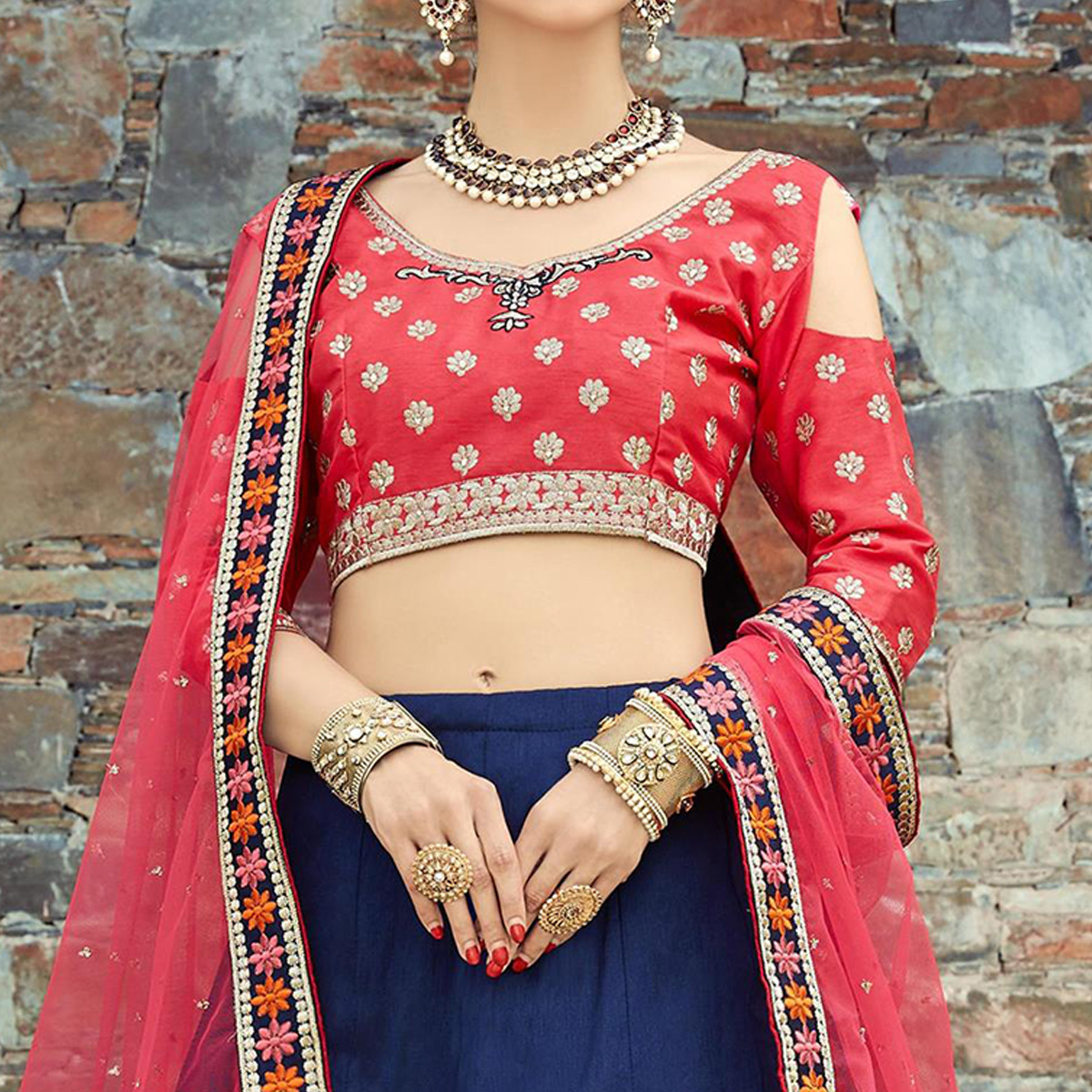 Jazzy Navy Blue Colored Wedding Wear Embroidered Mulberry Silk Lehenga Choli
