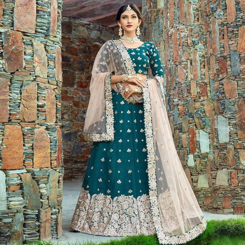 Groovy Teal Blue Colored Wedding Wear Embroidered Art Silk Lehenga Choli