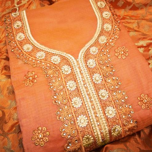 Classy Orange Colored Partywear Embroidered Modal Dress Material