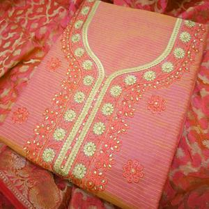 Adorable Gajri Colored Partywear Embroidered Modal Dress Material