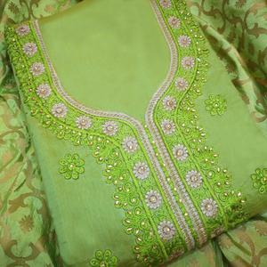 Appealing Green Colored Partywear Embroidered Modal Dress Material