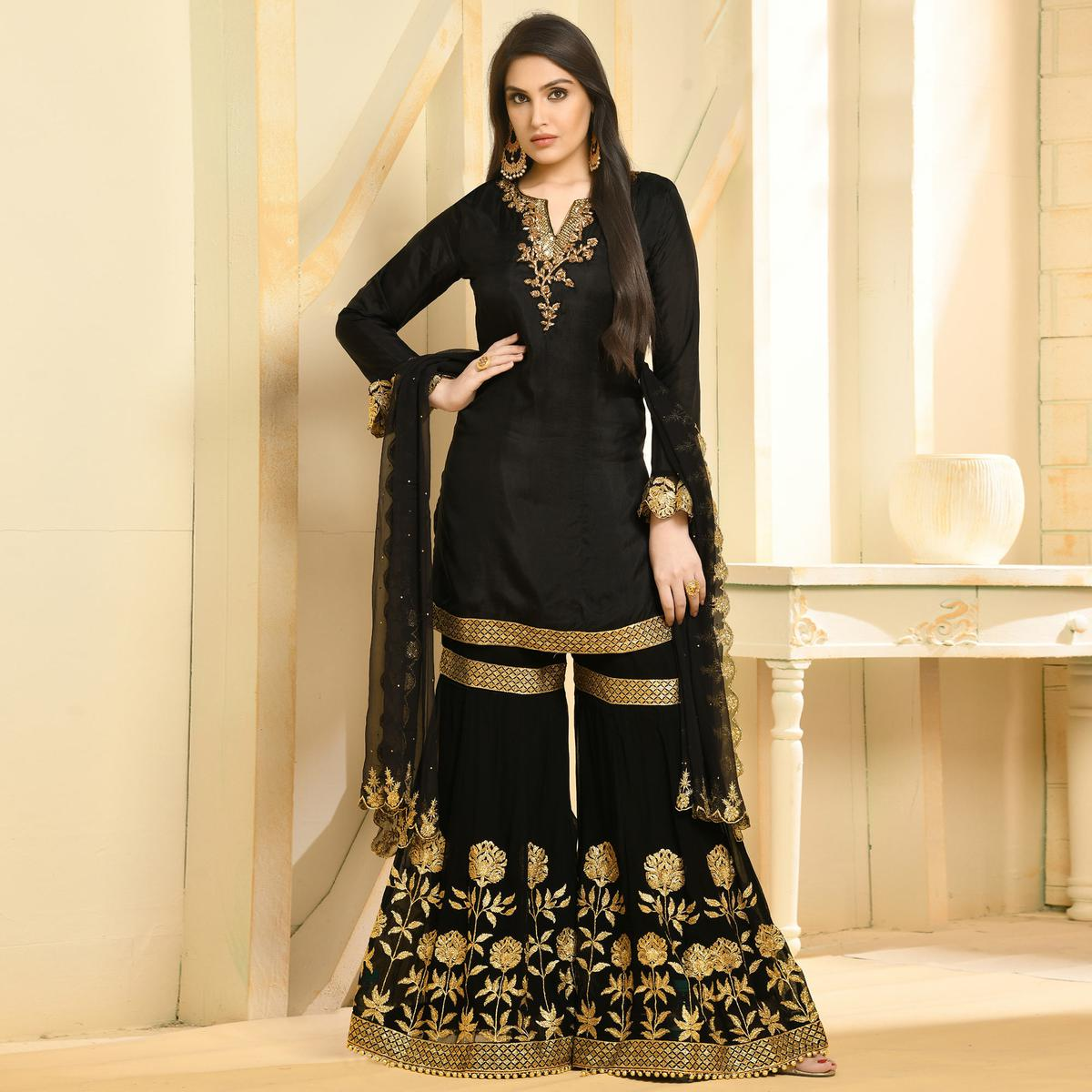 Intricate Black Colored Party Wear Embroidered Georgette Palazzo Suit