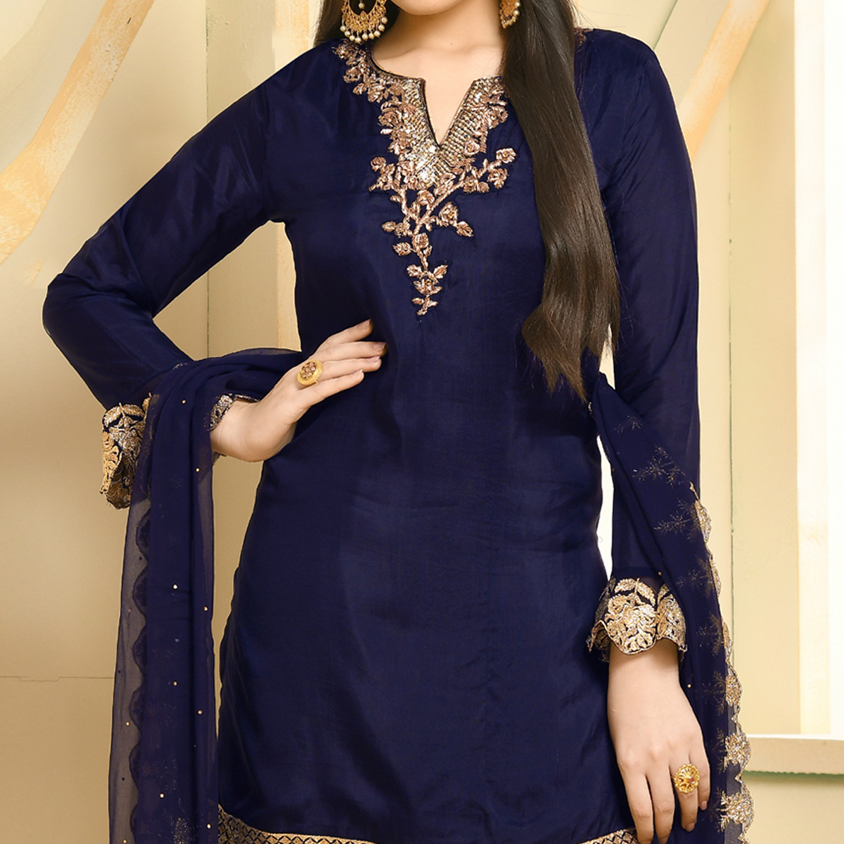 Jazzy Navy Blue Colored Party Wear Embroidered Georgette Palazzo Suit