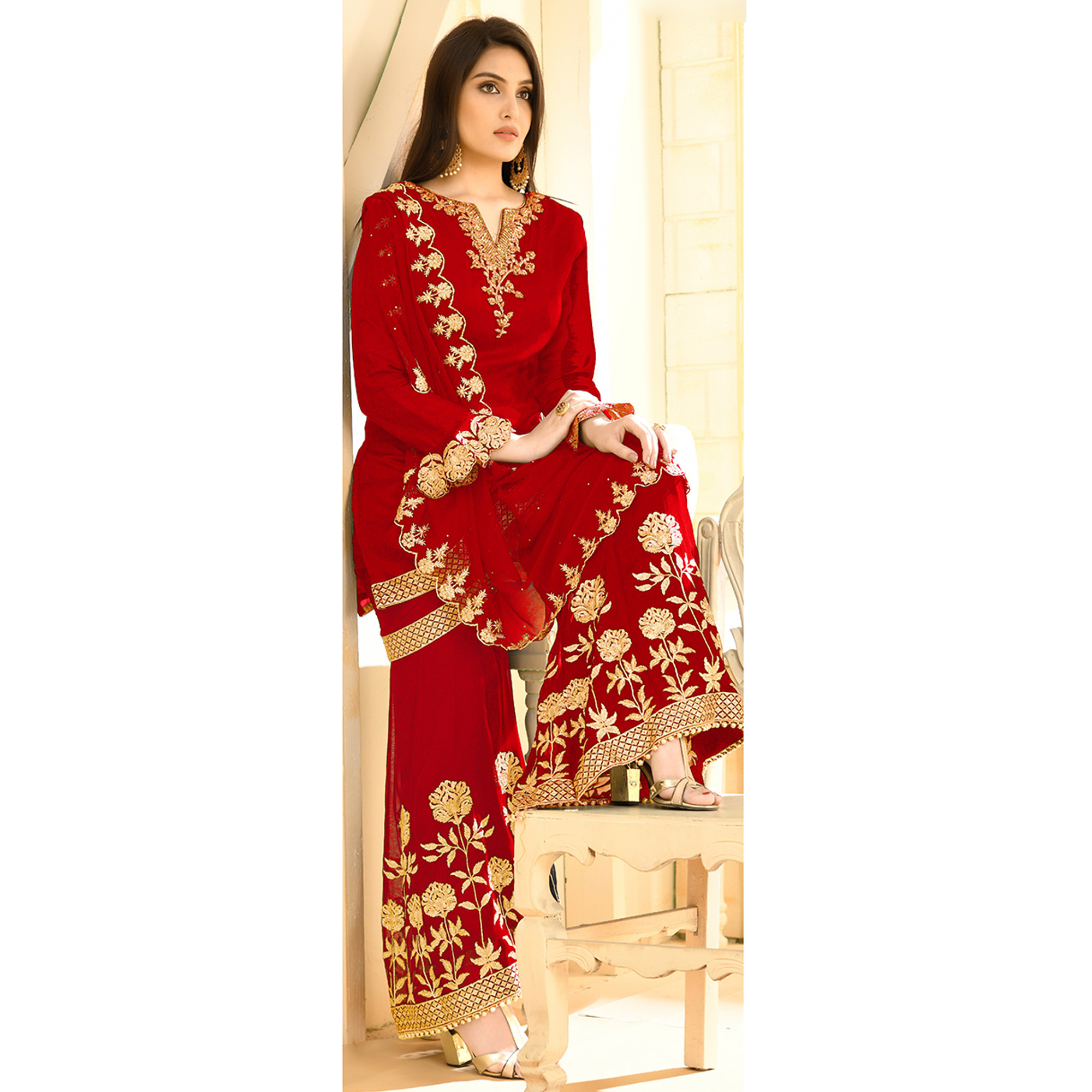 Appealing Red Colored Party Wear Embroidered Georgette Palazzo Suit