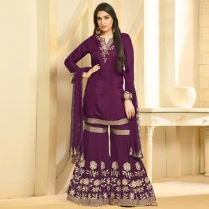 Groovy Wine Colored Party Wear Embroidered Georgette Palazzo Suit