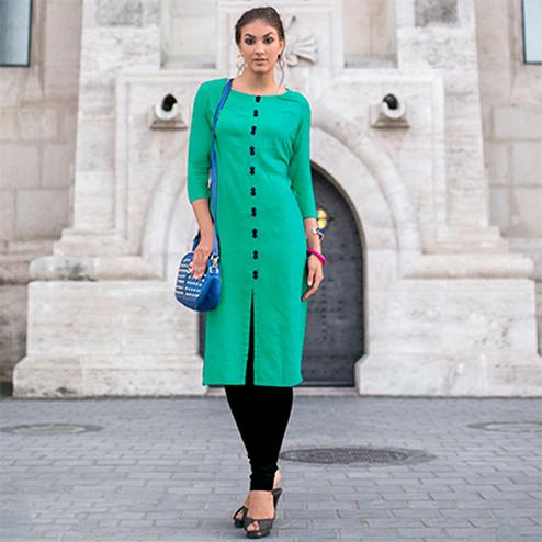 Teal Green Linen Cotton Designer Kurti