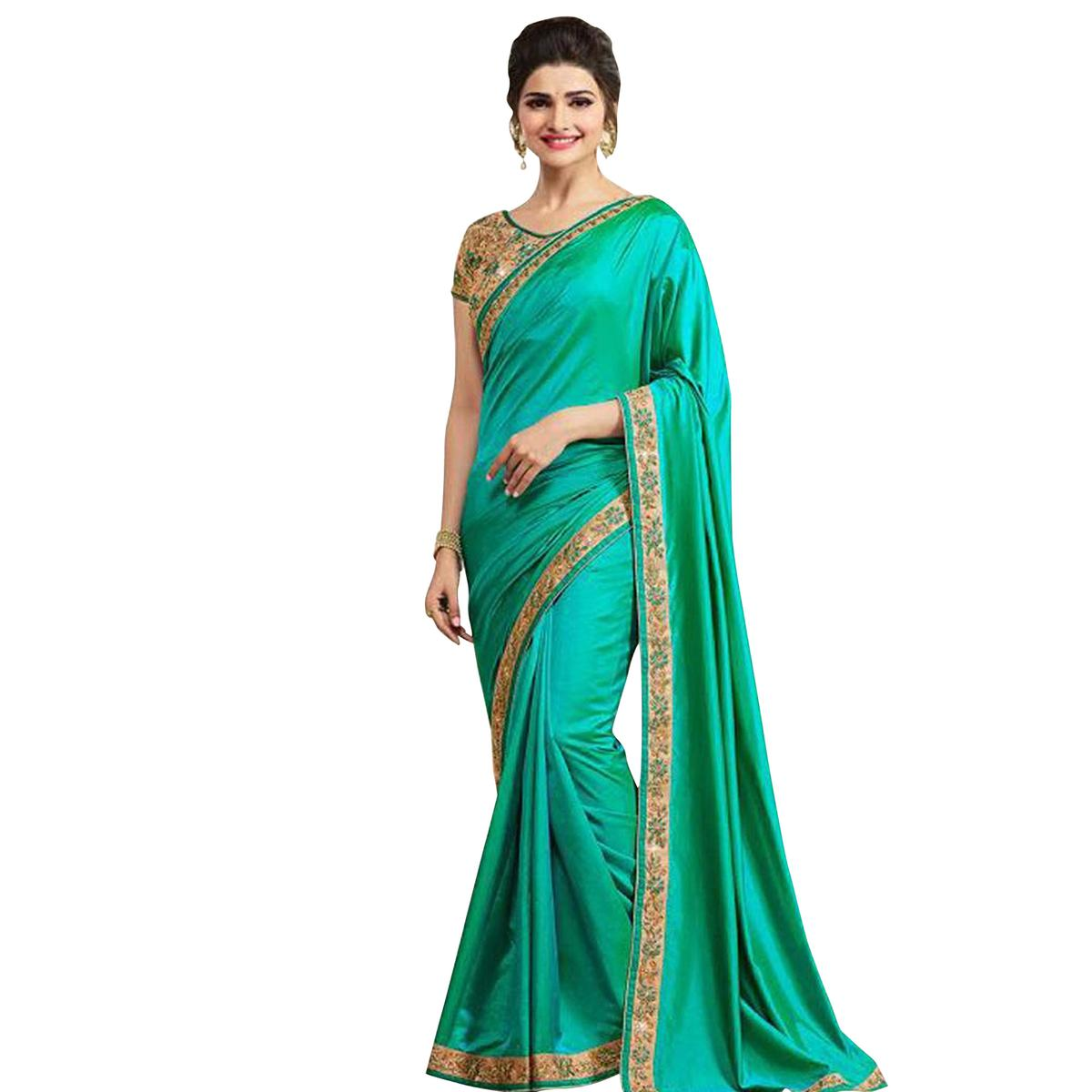 Groovy Turquoise Colored Party Wear Paper Silk Saree
