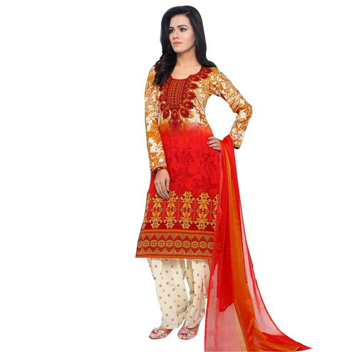 Captivating Red Colored Casual Wear Printed Cotton Salwar Suit