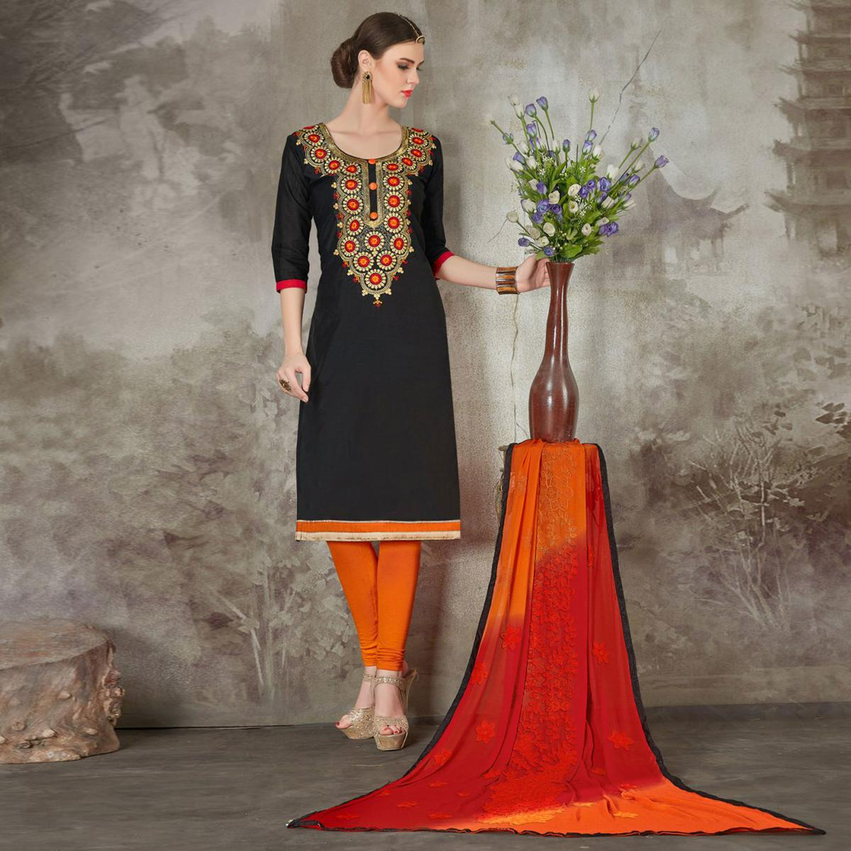 Radiant Black Colored Casual Wear Embroidered Cotton Salwar Suit
