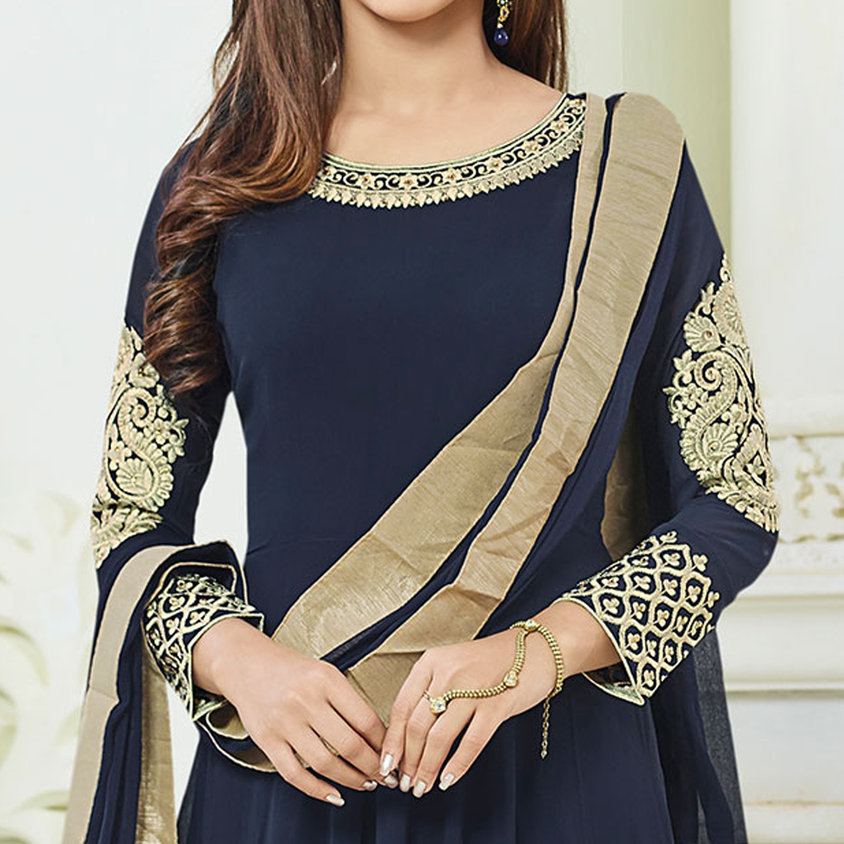 Opulent Navy Blue Colored Party Wear Embroidered Georgette Anarkali Suit