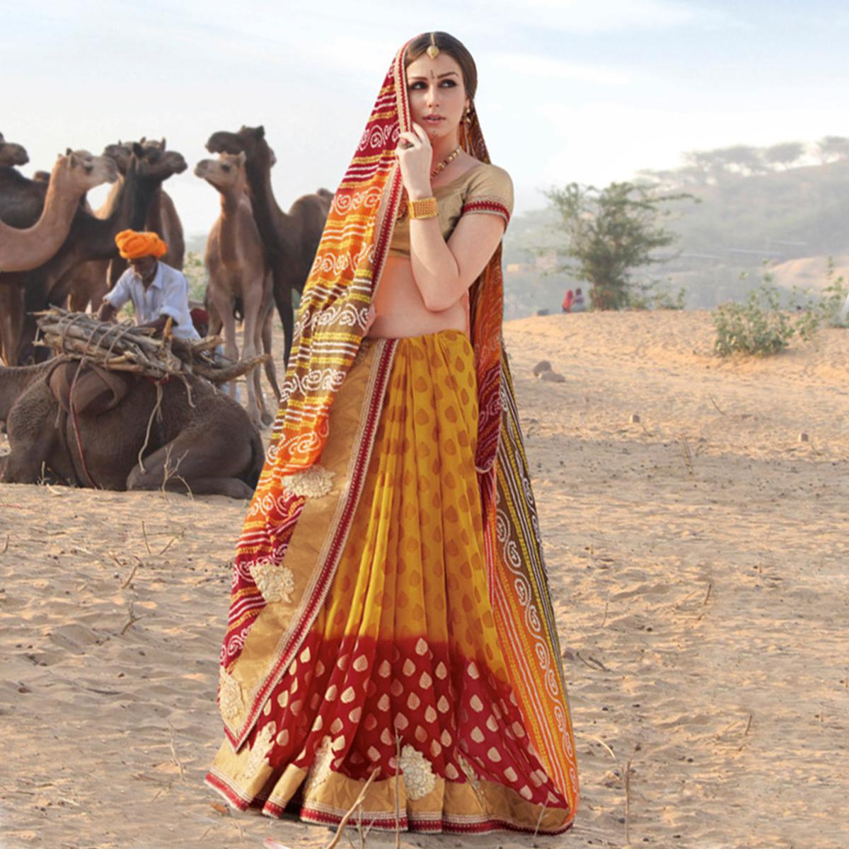 Flattering Yellow - Red Colored Casual Printed Georgette Saree