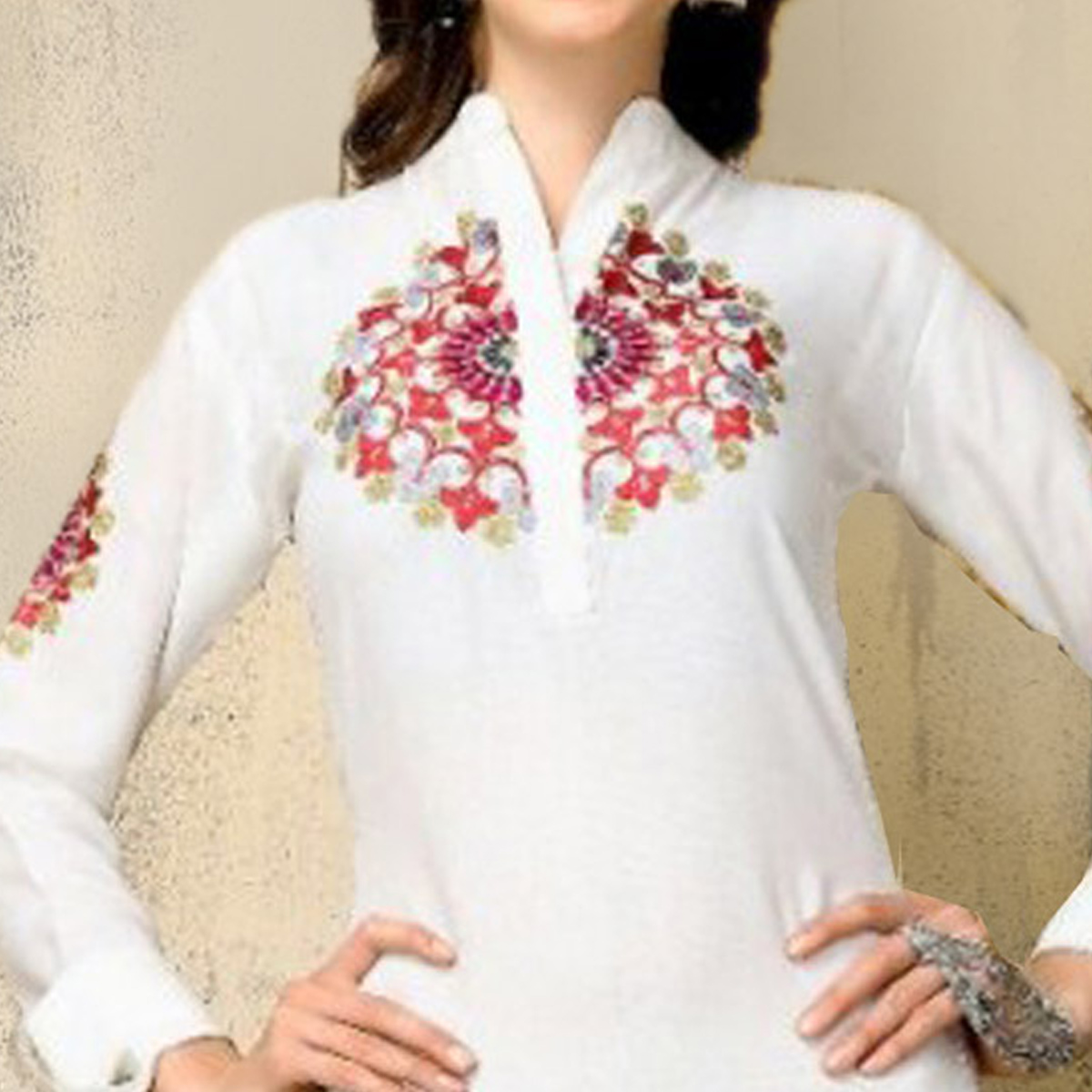 Impressive White Colored Casual Wear Embroidered Rayon Kurti
