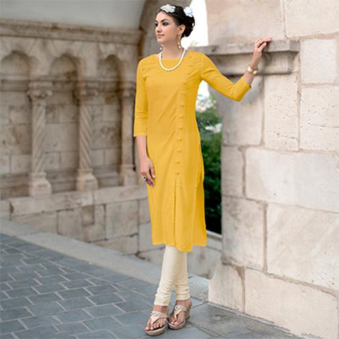 Yellow Linen Cotton Designer Kurti