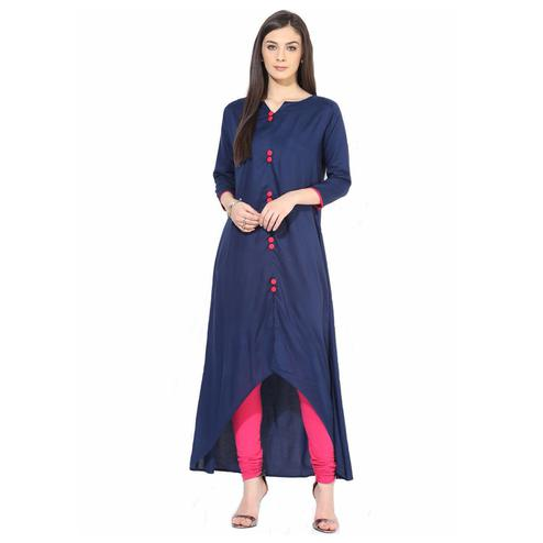 Innovative Navy Blue Colored Casual Wear Rayon Kurti