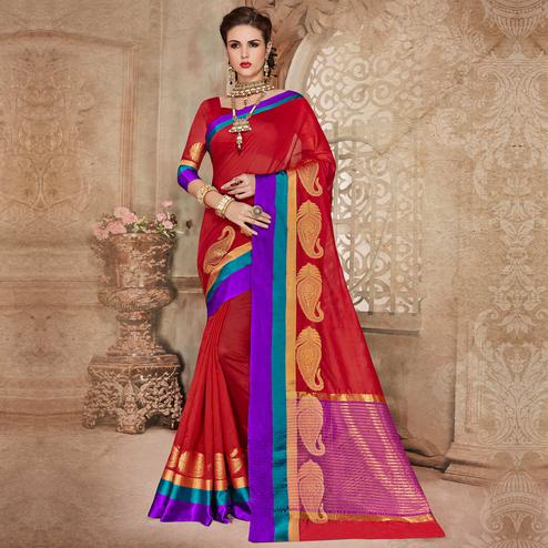 Surpassing Red Colored Festive Wear Woven Cotton Silk Saree